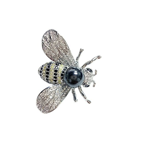 NONOSIZE Bling Bling Pendant Necklace Queen Bee Rhinestone Insect Brooch Silvery Necklace for Girlfriend ()