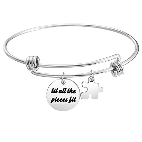 Pieces Fit Bracelet Puzzle Piece Charm Bangle Autism Awareness Jewelry (silver) ()