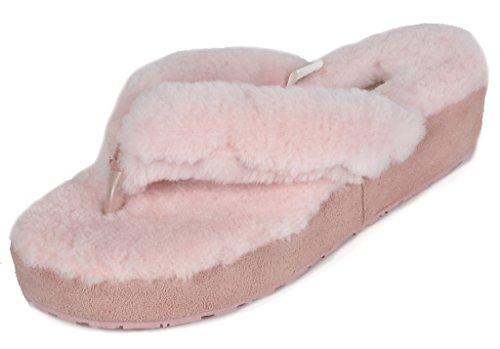 DREAM PAIRS Women's Spa-02 Pink Sheepskin Fur Fluffy Comfy Flip Flops Slippers Size 8.5-9 M US (Suede Wedge Womens Sheepskin)