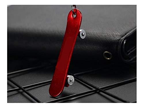 Gelaiken Novelty Fashion Skateboard Metal Car Keychain Tide Brand Keyring Pendant Gift for Men and Women_Red