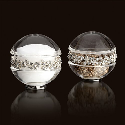 - L'Objet Platinum Garland Salt & Pepper Shakers Swarovski Crystals - White