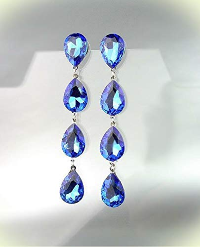 GLITZY Sapphire Blue Czech Crystals Chandelier Pageant Prom Bridal Earrings For Women Set 4320