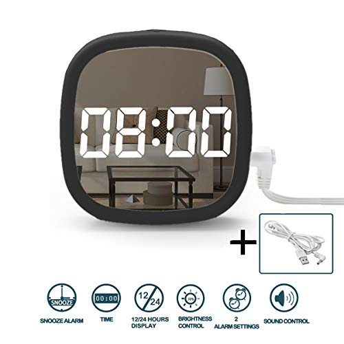 Digital Alarm Clock,Small Digital Clock with 2 Alarm Settings,Battery Powered Desk Clock with Voice Control | Auto Dimmer Mode,Mini Led Clock for Travel Outdoor Kids Beside Bed Desk Table Cars Camper (Led Car Clock)