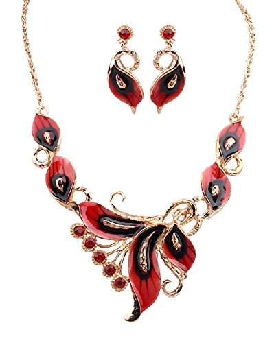 - Grenf Fashion Prom Wedding Bridal Jewelry Sets Exotic Multi-Colored Enamel Flower Bib Choker Necklace with Stud Earring 5 Colors (Red)