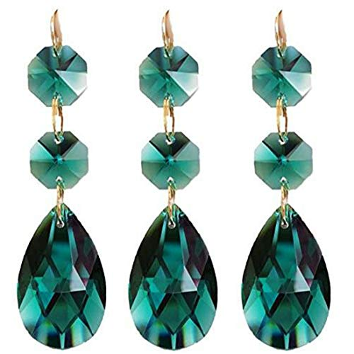 Little Chair 10Pieces Teardrop Crystal Chandelier Pendants Parts Beads,Hanging Crystal Beads Chain Garland,Door Curtain,Crystal Chandelier Pendants Parts Glass Beads (38mm) (Peacock (Green Teardrop Pendant)