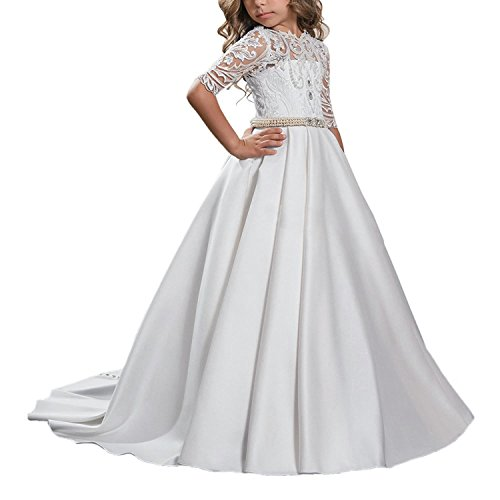 Carat Fancy Half Sleeves Pearl Open Back Girl Communion Dress 2-12 Year Old