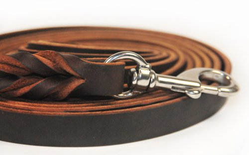 Dean and Tyler Braided Track Dog Leash, Brown 50-Feet by 3/4-Inch Width With Handle And Stainless Steel Hardware.