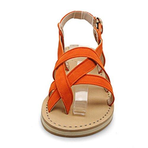COOLCEPT Mujer Moda Sin Cordones Sandalias Slingback Planos Zapatos Orange