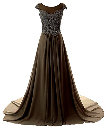 Prom Dresses Long Evening Gowns Lace Bridesmaid Dress Chiffon Prom Dress Cap Sleeve Chocolate US22W