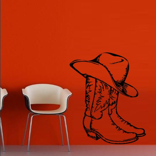 Wall Decal Decor Decals Art Boots Hat Cowboy Texas Stetson Ranch Mexico Canada Western - Canada Us Usps Shipping From To