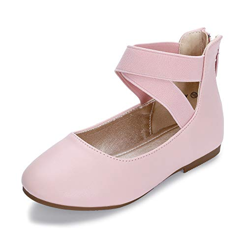 Hehainom Toddler/Little Kid Girl's Gracy Dress Ballet Flats Ankle Strap Elastic Mary Jane Ballerina Shoes (Pink PU, 12 M US Little Kid)