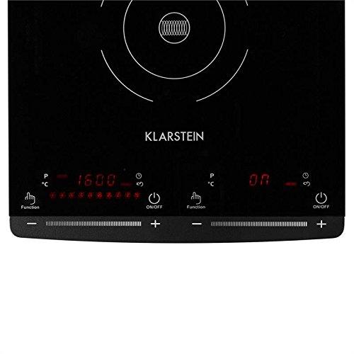 Klarstein VariCook Slim Placa de Inducción - 2 x Fuego eléctrico , Temperatura: 60-240 °C , 10 niveles , Potencia: 2900 W , Temporizador de 1 a 80 min ...