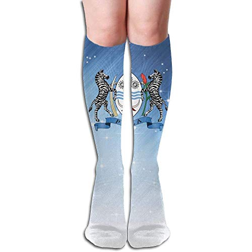 songliangq Dnim Coat of Arms of Botswana Design Elastic Blend Long Socks Compression Knee High Socks (50cm) for Sports