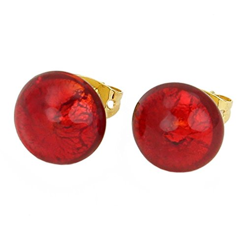 - GlassOfVenice Murano Glass Button Stud Earrings - Red Gold