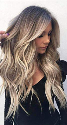 Full Shine Dark Roots Color Lace Front Wig 16 inch Ombre Color #3 Fading to Color #8 Ash Brwon Highlighted With Color #22 Human Hair Wig With Baby Hair 130% Density Natural Wavy Wig