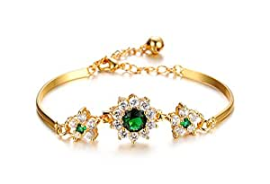 Women 18K Gold Plated Bracelet for Wedding Birthday Party Gift Jewelry 15cm (5.9 inch)