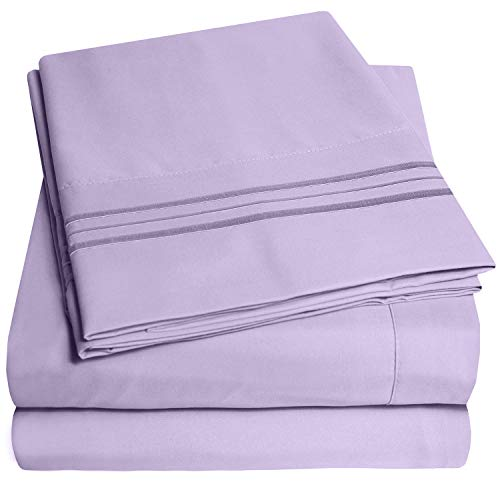 1500 Supreme Collection Bed Sheets Set Luxury Hotel Style 4 Piece Extra Soft Sheet Set Deep Pocket Wrinkle Free Hypoallergenic Bedding Over 40 Colors Queen Size Lavender