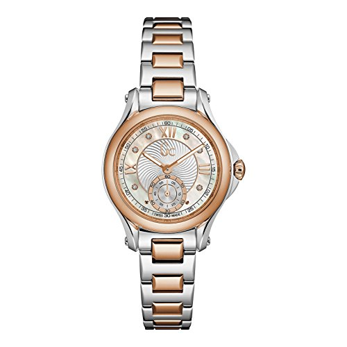 GC Women's Gc ClassicChic Diamond 34mm Two Tone Steel Bracelet Steel Case Quartz MOP Dial Watch X98104L1S