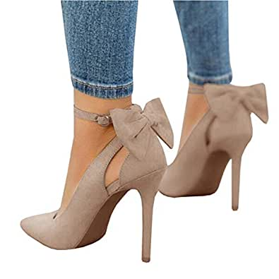 Kathemoi Womens High Heeled Pumps Shoes Pointed Toe Bowtie Ankle Buckle Stilettos Dress Shoes Beige Size: 10 US