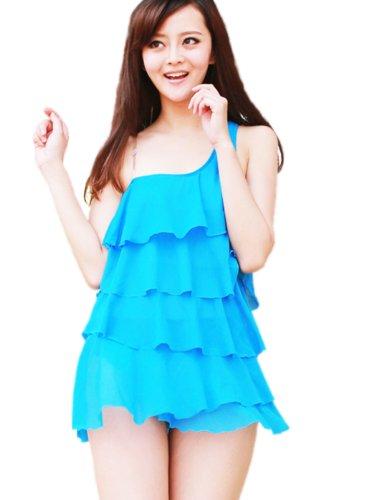 Thinkbay® 1 Piece Ruffled Monokini Swimsuit, Padded One Shoulder Bikini Swimwear, Bathing Beach Wear for Women, Blue Color (US4/EU34/L Cup:34A)