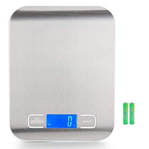 Báscula Digital para Cocina, 5 kg / 11 lbs, Plataforma de Acero Inoxidable, con Gran Pantalla LCD e Almohadillas...