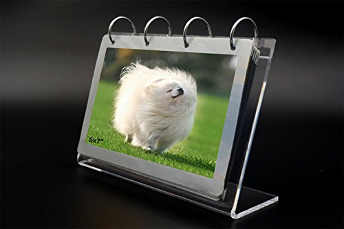leoyoubei Clear Acrylic Sided Frames Desktop Display Holder with Vertical Stand and 4mm Thicker Menu Holders,PVC Photo Clip 7 Shows 14 Photos Photography Studio/Album (