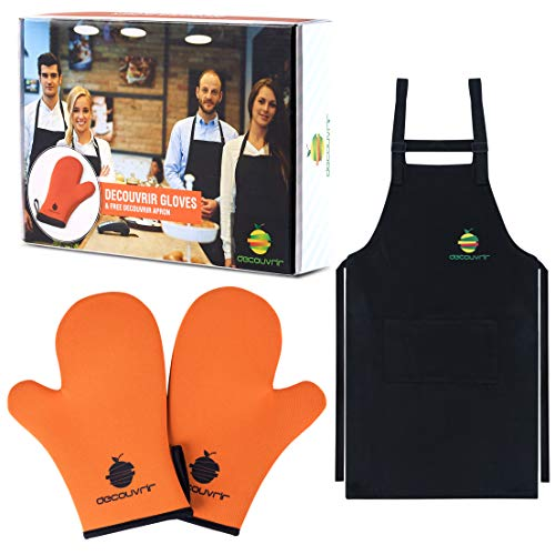 (Neoprene Oven Mitts Apron Set  High Temperature Heat-Resistant Kitchen Mittens for Men and Women Perfect Cooking, Baking, Grilling + Adjustable Black Bib Apron + eBook with Delicious)