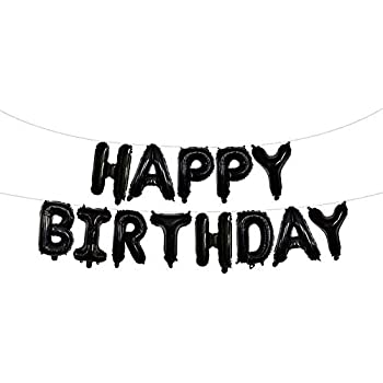 Grainee Happy Birthday Balloons Mylar Aluminum Foil Banner For Party Decorations And Supplies Black