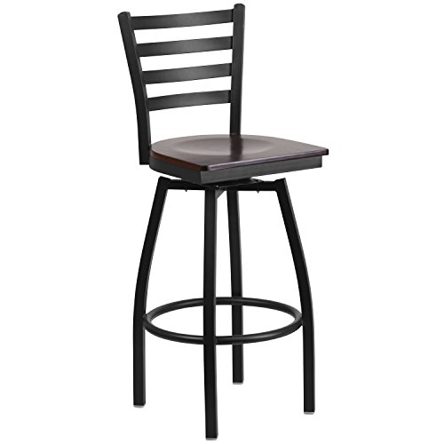 0.625' Seat - Flash Furniture HERCULES Series Black Ladder Back Swivel Metal Barstool - Walnut Wood Seat