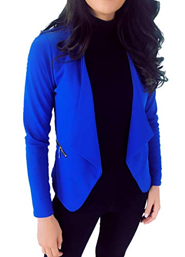 Zip Courte Poches Française Royal Veste Et Femme Unie Dmarkez Avec Bleu Fabrication Habillée Blazer vous Or Chic PqazYTx