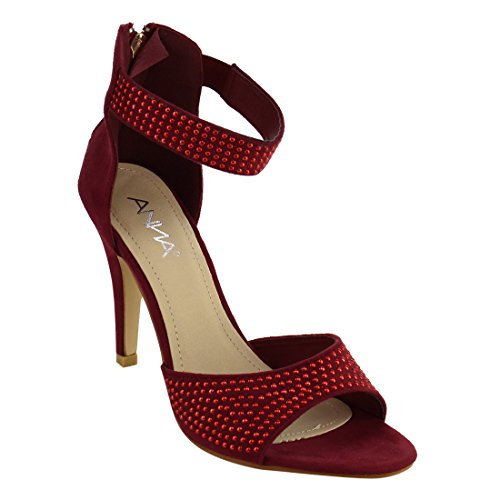 ANNA ID58 Womens Rhinestone Stud Wrapped Stiletto Heel Dress Sandal Wine 7TfxMCSBh
