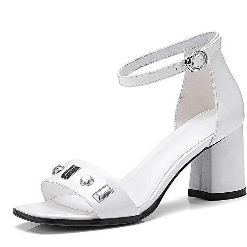 scarpe Moda 39 Alla Sandali Donna dita White tacchi AJUNR 38 alti tacchi Da ruvida rivetti 7cm wRaIA