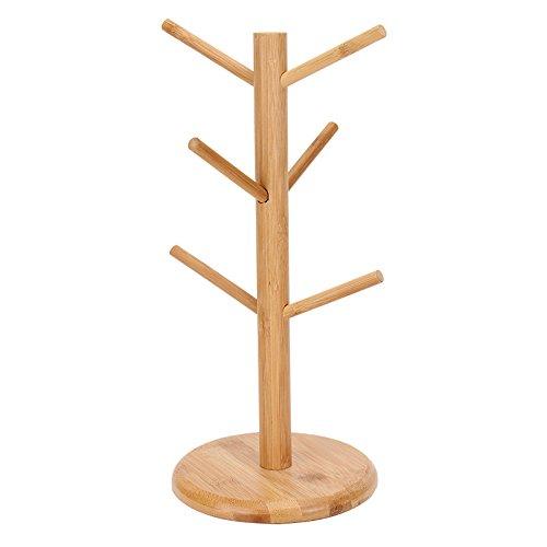 Creative Tree Shape Wood Tree Coffee Cups Draining Storage Rack Hanging Holder With 6 Hooks