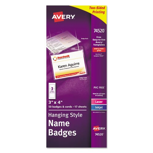 Neck Hang Badge Holder w/Laser/Inkjet Insert, Top Load, 3 x 4, White, 50/BX, Sold as 50 - Avery Neck Hanging Elastic