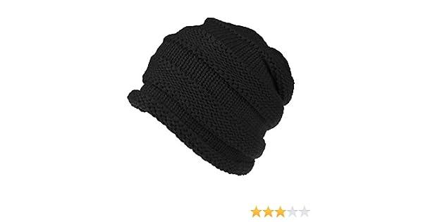 966783acc001f iYBUIA Winter Men Women Baggy Warm Crochet Wool Knit Ski Beanie Skull  Slouchy Caps Hat(Black