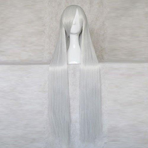 [Rozen Maiden Suigintou Sliver White 100CM Long Cosplay Costume Wig + Free Wig Cap] (Rozen Maiden Suigintou Costume)