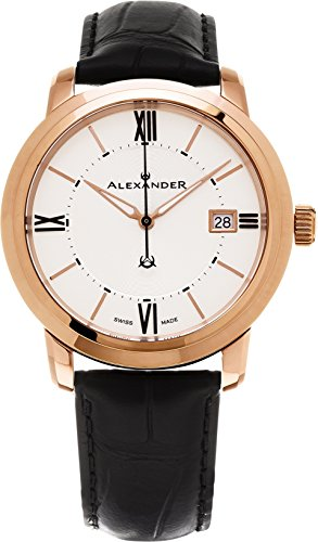 Alexander Heroic Macedon Men's Silver Dial Black Leather Strap Rose Gold Plated Swiss Made Watch A111-06