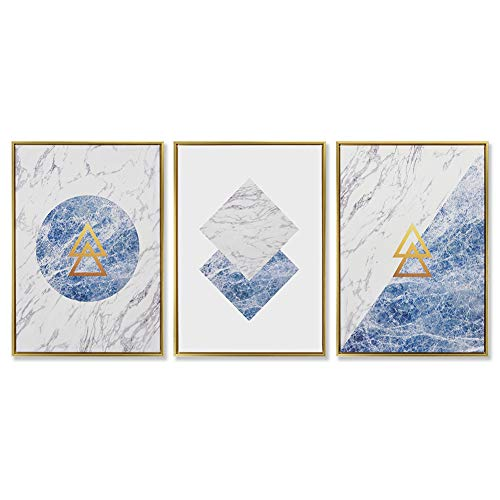 7CANVAS Canvas Wall Art 3 Panels Geometric Nordic Style Abstract Blue and White Paintings Home Decor for Living Room Bedroom Bedside Marble Pattern Wall Decoration 20 x 28 Inch x 3pcs