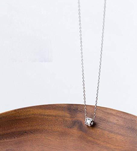 S925 Silver Necklace Women'S Simple Black Diamond