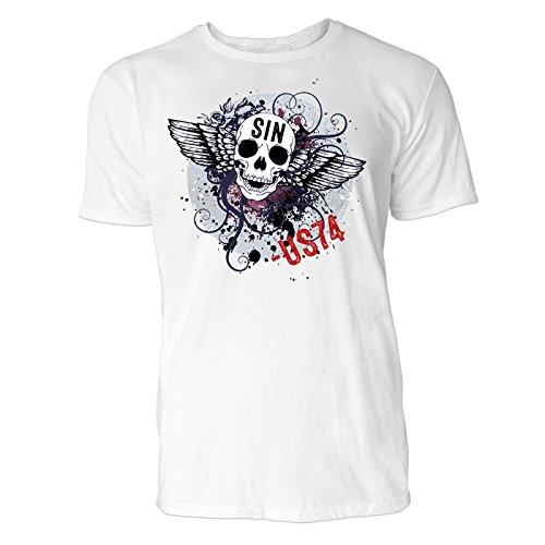 SINUS ART ® Totenkopf mit Flügeln und grünem Kreis Herren T-Shirts in Weiss Fun Shirt mit tollen Aufdruck
