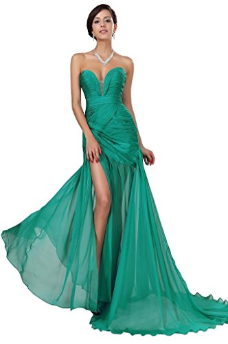 Snowskite Women's Sexy Sweetheart Chiffon Long Evening Formal Party Dress Green 0