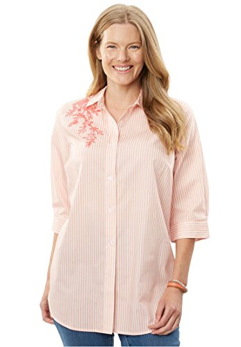 Woman Within Plus Size Perfect Three-Quarter Sleeve Print Button Down Shirt - Coral Rose Floral Embroidery, L