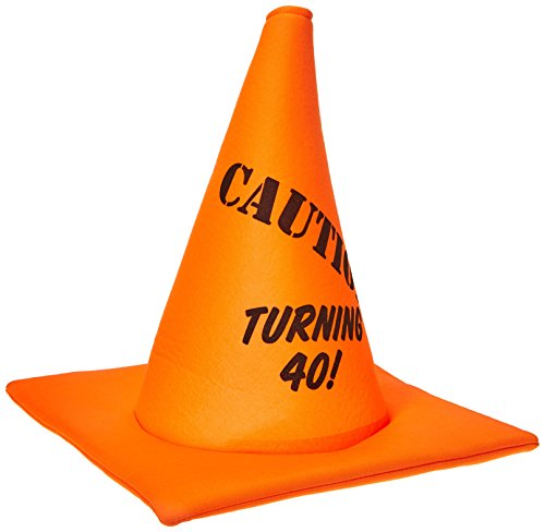 Rasta Imposta Turning 40 Hat , Orange Caution Road Cone Hat, One Size - Fortieth Birthday for $<!--$7.87-->