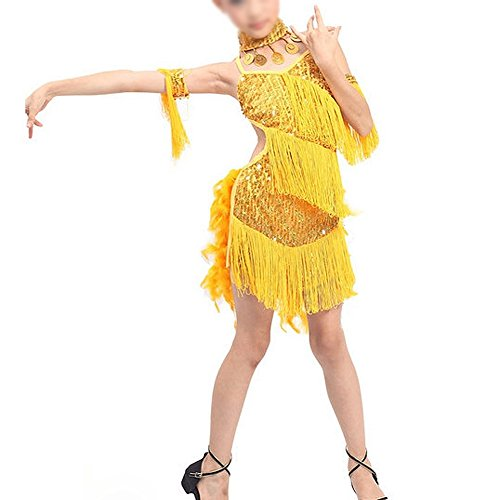 Latin Dance Costumes With Feathers (TOOGOO(R)New Children Kids Sequin Feather Fringe Stage Performance Competition Ballroom Dance Costume Latin Dance Dress For Girls Yellow,M)