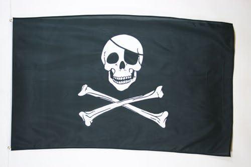 Flagseller UK Bandiera Teschio e Ossa incrociate 5ft x 3ft di alta qualità