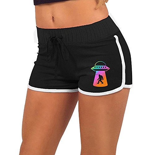 Price comparison product image Baujqnhot Pastel UFO Abduction Bigfoot Alien Girls Comfort Waist Workout Running Shorts Pants Yoga Shorts