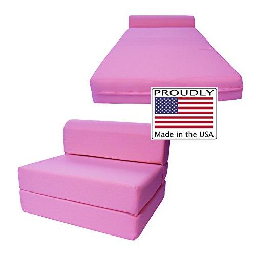 D&D Futon Furniture Pink Sleeper Chair Folding Foam Bed Sized 6