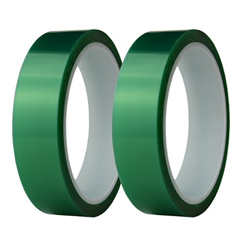(Hxtape 1 Inch Polyethylene Terephthalate(PET) High Temperature Green Powder Coating Masking Tape, Ideal to Painting, Powder Coating, Anodizing Applications,Multi Size (1 inch-36yds-2 roll))