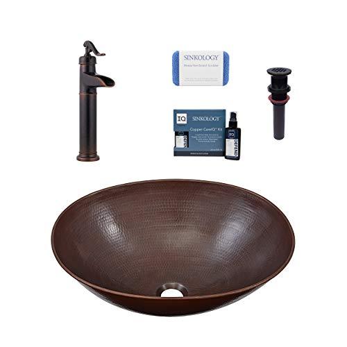 Sinkology SB306-18AG-F040-AMZ Maxwell Vessel Bath Sink Pfister Ashfield Faucet and Drain Bathroom All-in-One Kit, Aged Copper