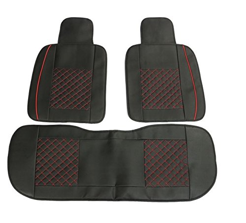 MD Group Car Seat Cover 5 Seat PU Leather Front & Rear Seat Set Full Surround Needlework 10pcs by MD Group (Image #2)